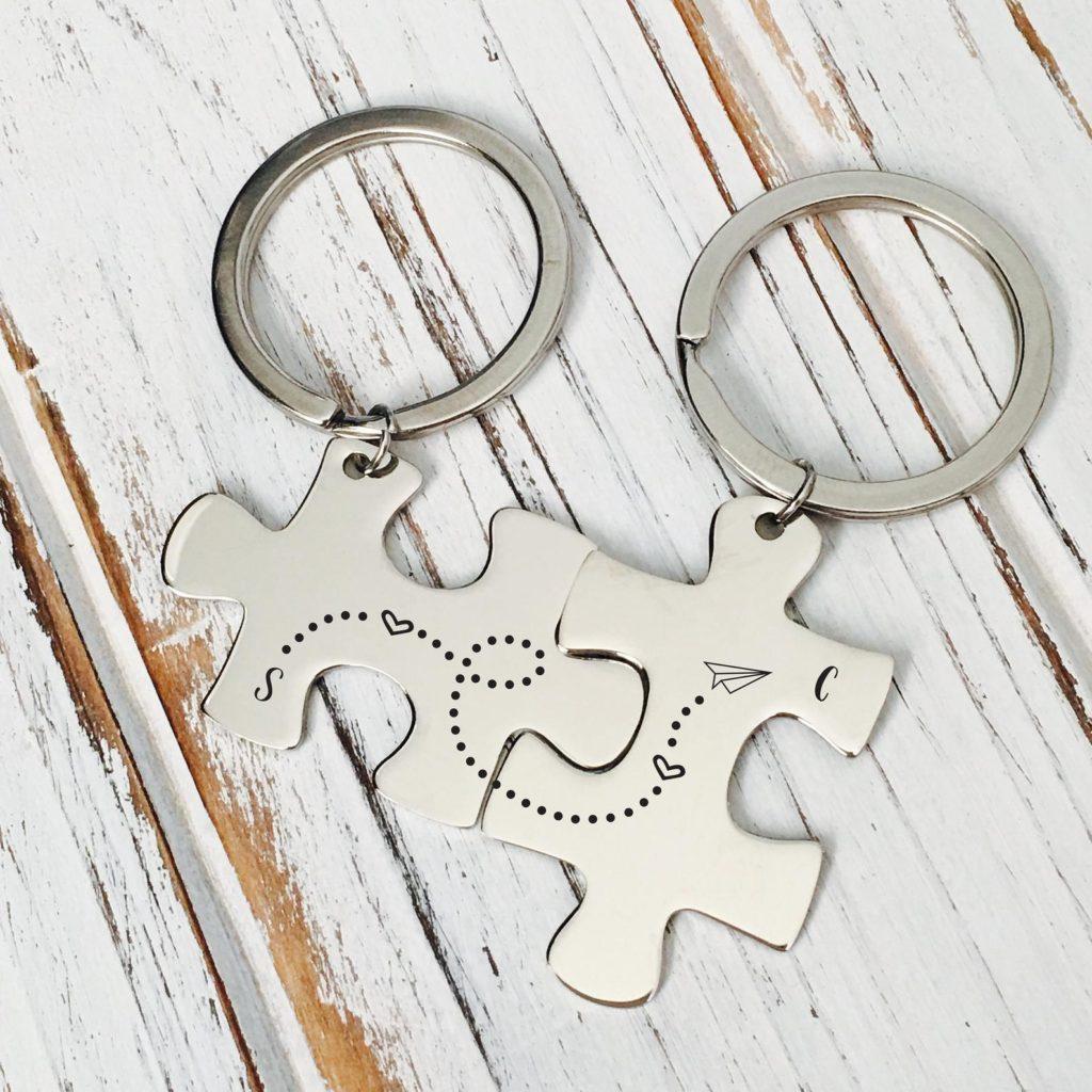Portachiavi puzzle coppia personalizzati