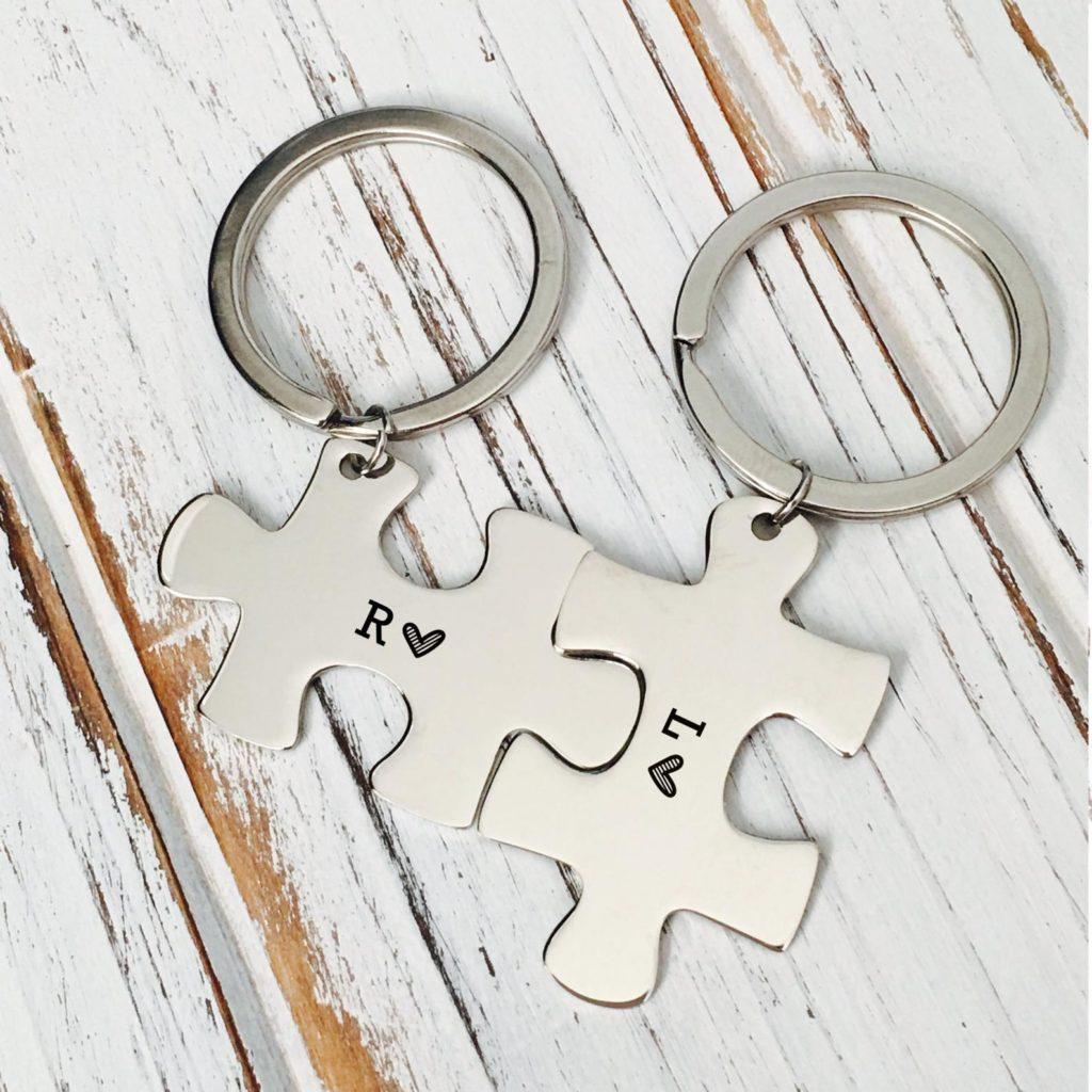 Portachiavi puzzle personalizzati per coppia