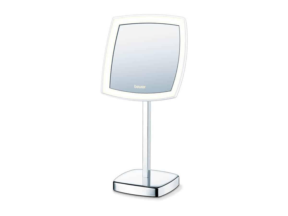 Specchio da trucco squadrato con led, ingrandimento 5x e piedistallo