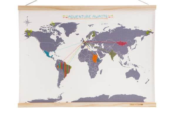 Kit ricamo punto croce mappa del mondo