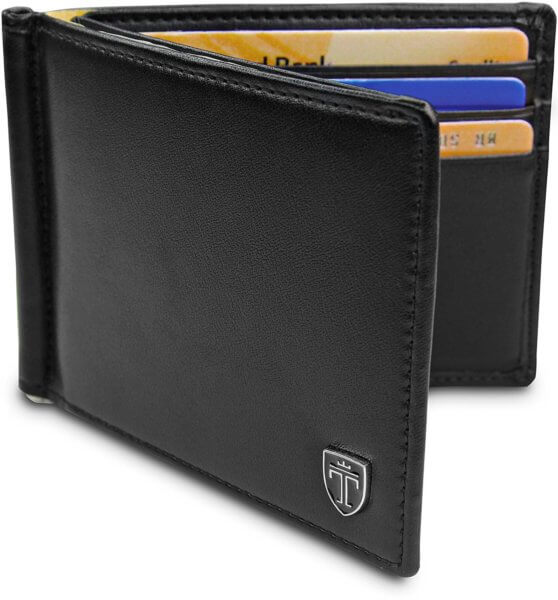 Travando portafoglio da uomo sottile con schermatura RFID