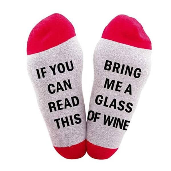"""Calze uomo-donna divertenti """"Bring me a glass of Wine"""""""
